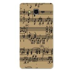 PC Plastik Musik Catatan Staf Case untuk Samsung Galaxy J7 (Coklat/Hitam)