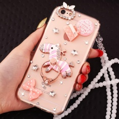 PC + TPU anti-drop diamond soft shell + Lanyard case cover for VIVO Xplay6(Pink zebra + Anna Sui+lanyard) - intl