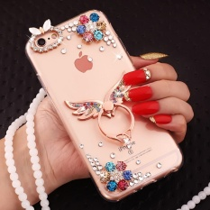 PC + TPU anti-drop diamond soft shell + Lanyard case cover for VIVO Xplay6(Rose gold angel wings+colorful flowers+lanyard) - intl