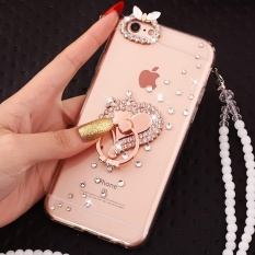 PC + TPU Anti-drop Diamond Soft Shell + Lanyard Case Cover untuk VIVO Xplay6 (Rose Gold Wish + Lanyard) -Intl