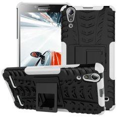 PC TPU Phone Shell untuk Lenovo A6000 / A6000 Plus dengan Kickstand (Putih)