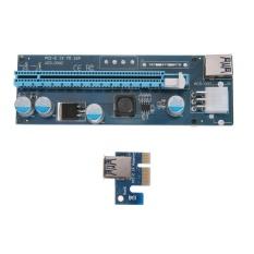 Spesifikasi Pci E 1X Untuk 16X Riser Kartu Extender Adaptor Usb3 Kabel 15Pin 6Pin Kabel Biru Intl Baru