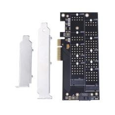Pci-e 4X Ke  NVME M.2 NGFF B + M.2 NGFF M Kunci SSD Slot Kartu Adaptor-Internasional(Black)