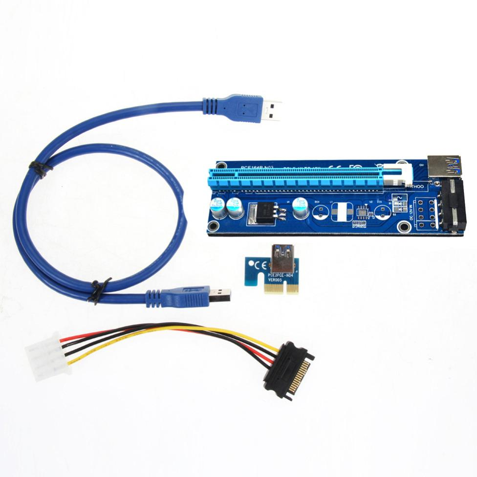 PCI Riser- E Check 1 x untuk 16 x USB 3.0 Powered Extender Riser adaptor