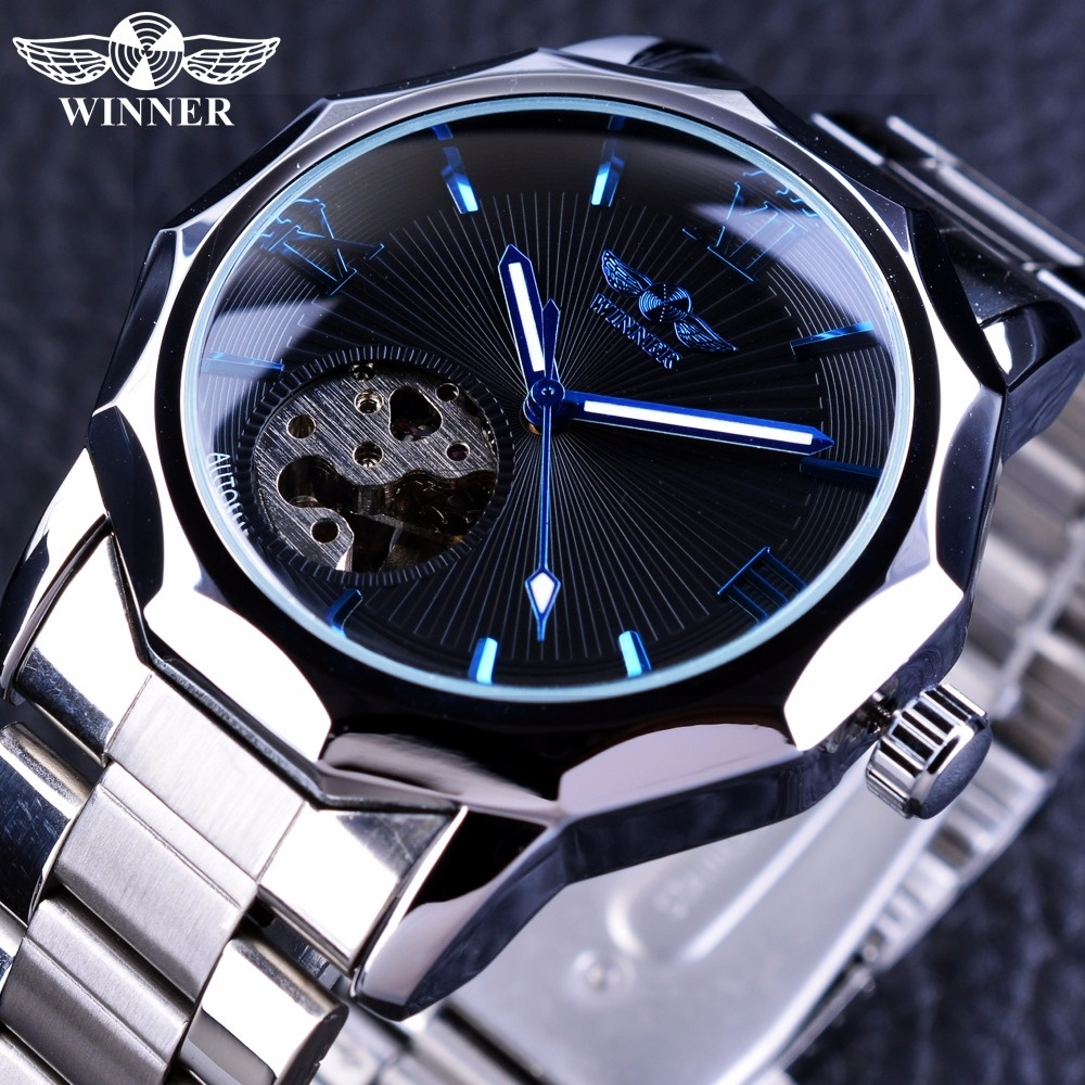 Spesifikasi Pemenang Blue Ocean Geometri Desain Stainless Steel Luxury Kecil Dial Skeleton Mens Watches Top Brand Luxury Otomatis Wrist Watch Intl Winner