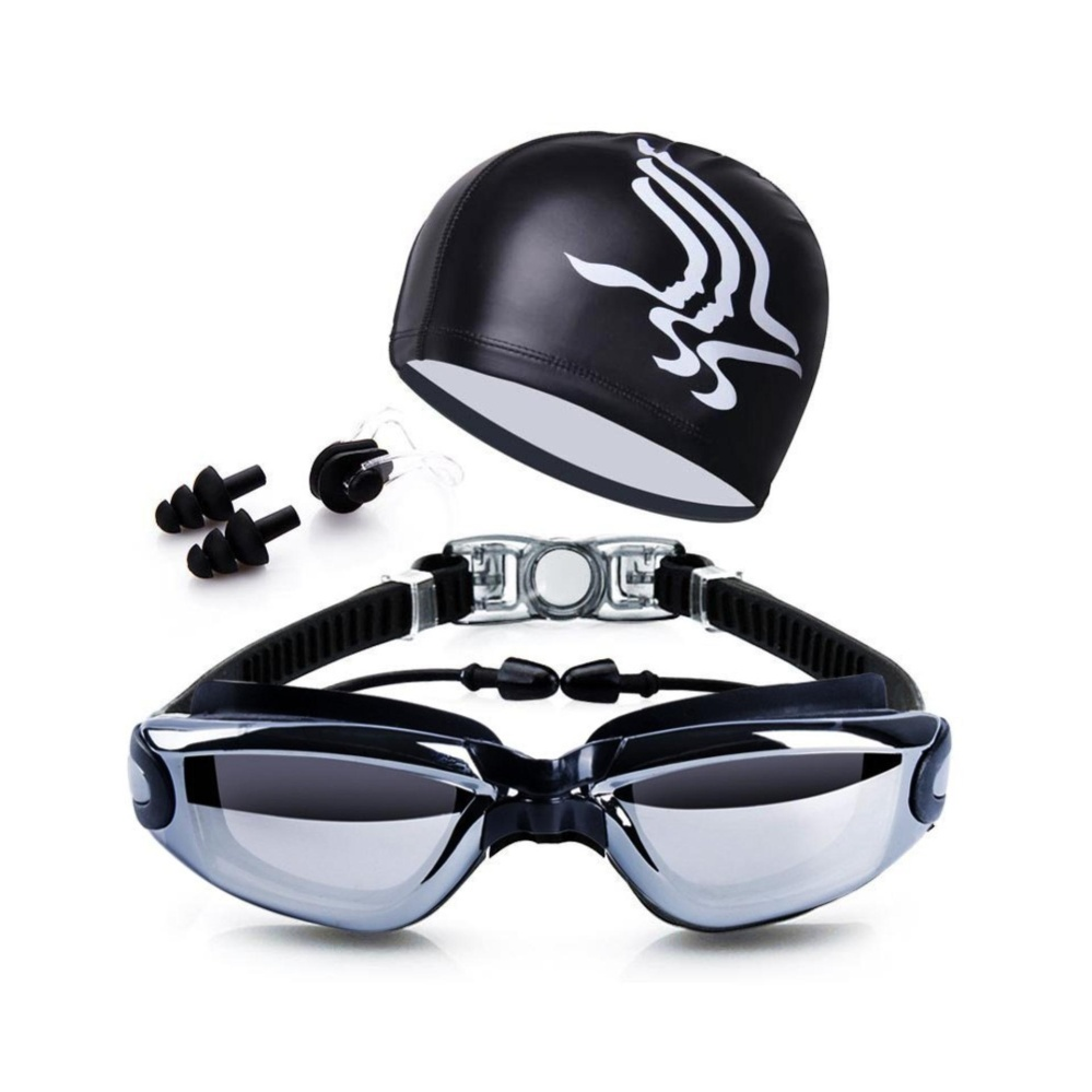 Ulasan Tentang Penawaran Khusus Swim Goggles Swim Cap Case Klip Hidung Telinga Clear Kacamata Renang Dilapisi Lensa Tidak Bocor Anti Fog Uv Protection Untuk Pria Dewasa Wanita Youth Anak Internasional