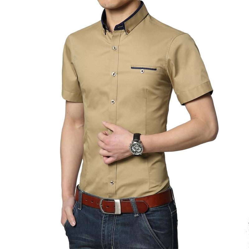 Jual Pengantin Pria Pria Pernikahan Musim Panas Gaun Lengan Pendek Kemeja Khaki Khaki Branded Original