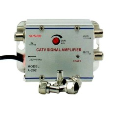 Penguat Sinyal TV (CATV Signal Amplifier) / Booster Indoor dan Spliter 2 Way 1