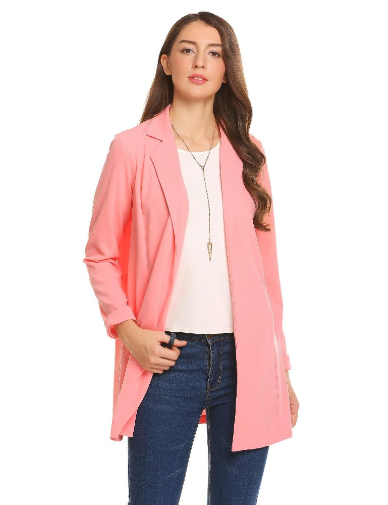 Ulasan Tentang Penjualan Baru Sunwonder Women Buka Cardigan Lengan Panjang Tidak Gesek Kantor Blazer Jaket Setelan Hitam Intl