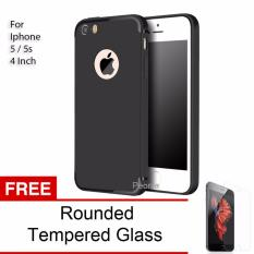 Peonia Anti Fingerprint Premium Quality Grade A Ultraslim Hybrid Case for Iphone 5 / 5s / 5 SE 4 Inch + Rounded Tempered Glass