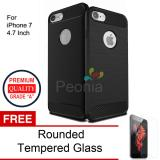 Review Terbaik Peonia Carbon Shockproof Hybrid Premium Quality Grade A Case For Iphone 7 4 7 Inch Hitam Rounded Tempered Glass