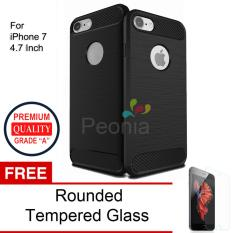 Harga Peonia Carbon Shockproof Hybrid Premium Quality Grade A Case For Iphone 7 4 7 Inch Hitam Rounded Tempered Glass Branded