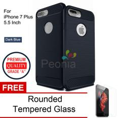 Beli Peonia Carbon Shockproof Hybrid Premium Quality Grade A Case For Iphone 7 Plus 5 5 Inch Dark Blue Rounded Tempered Glass Peonia Murah