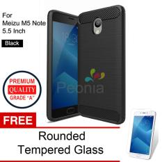 Miliki Segera Peonia Carbon Shockproof Hybrid Premium Quality Grade A Case For Meizu M5 Note 5 5 Inch Hitam Rounded Tempered Glass