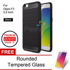 Peonia Carbon Shockproof Hybrid Premium Quality Grade A Case for Oppo F3 5.5 Inch + Rounded Tempered Glass