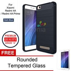 Jual Peonia Carbon Shockproof Hybrid Premium Quality Grade A Case For Xiaomi Redmi 4A Redmi 4A Prime Dark Blue Rounded Tempered Glass Peonia Grosir