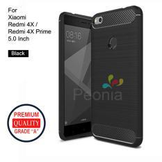 Peonia Carbon Shockproof Hybrid Premium Quality Grade A Case for Xiaomi Redmi 4X / Redmi 4X Prime 5.0 inch - Hitam