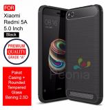 Jual Peonia Carbon Shockproof Hybrid Premium Quality Grade A Case For Xiaomi Redmi 5A 5 Inch Rounded Tempered Glass Peonia Asli