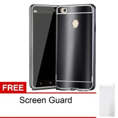 Peonia Glare Mirror Backcase with Metal Aluminium Bumper For Xiaomi MI4S - Black Onyx + Gratis
