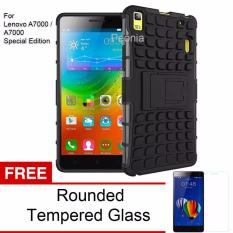 Review Peonia Kickstand Robotic Case For Lenovo A7000 A7000 Special Edition Hitam Tempered Glass