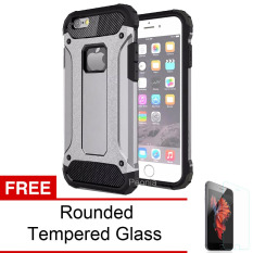 Peonia Kingkong Defender Slim Armor HardCase for Iphone 6 plus / 6S plus (5.5inch) - Grey + Tempered Glass