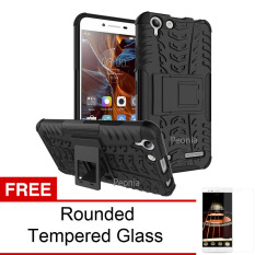 Peonia Kickstand Defender Case for Lenovo K5 Plus / K5 / A6020a46 / Lemon 3 - Black + Rounded Tempered Glass