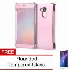 Promo Toko Peonia Mirror Flip Cover Case For Xiaomi Redmi 4S Prime Pro Rose Gold Rounded Tempered Glass