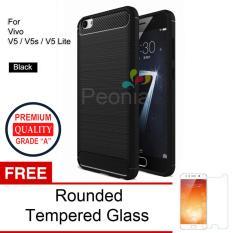 Jual Beli Peonia Premium Quality Carbon Shockproof Hybrid Premium Quality Grade A Case For Vivo V5 V5S V5 Lite Hitam Rounded Tempered Glass