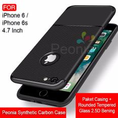 Harga Peonia Synthetic Fiber Carbon Ultraslim Hybrid Case For Iphone 6 6S 4 7 Inch Rounded Tempered Glass Terbaru