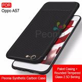 Kualitas Peonia Synthetic Fiber Carbon Ultraslim Hybrid Case For Oppo A57 Rounded Tempered Glass Peonia