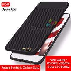 Toko Peonia Synthetic Fiber Carbon Ultraslim Hybrid Case For Oppo A57 Rounded Tempered Glass Online Terpercaya