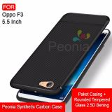 Iklan Peonia Synthetic Fiber Carbon Ultraslim Hybrid Case For Oppo F3 5 5 Inch Rounded Tempered Glass
