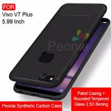 Jual Peonia Synthetic Fiber Carbon Ultraslim Hybrid Case For Vivo V7 Plus V7 5 99 Inch Rounded Tempered Glass Peonia Ori