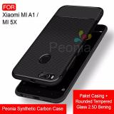 Spesifikasi Peonia Synthetic Fiber Carbon Ultraslim Hybrid Case For Xiaomi Mi A1 Mi 5X 5 5 Inch Rounded Tempered Glass Baru