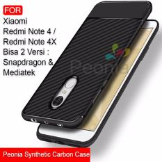 Peonia Synthetic Fiber Carbon Ultraslim Hybrid Case for Xiaomi Redmi Note 4 / Redmi Note 4X versi Mediatek dan Snapdragon 5.5 Inch