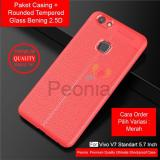 Peonia Ultimate Shockproof Premium Quality Grade A Case For Vivo V7 5 7 Inch Rounded Tempered Glass Bening 2 5D Peonia Diskon 40