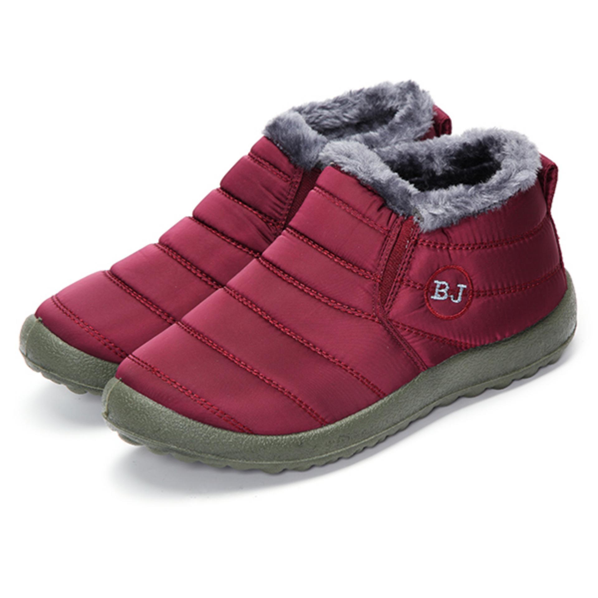 Perempuan HOT Musim Dingin Hangat Kain Fur-lined SLIP ON Pergelangan Kaki Sepatu Bot Salju Sepatu Sneakers MERAH