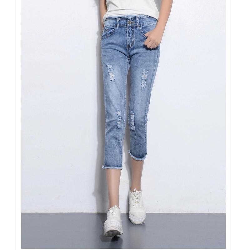 Harga Jeans Sepertujuh Celana 3 4 Perempuan Musim Semi Dan Musim Panas Baru Cahaya Biru Online