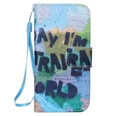 Dipersonalisasi Painted Series PU Leather Phone Holster dengan Pemegang Kartu untuk Iphone5/Iphone5S/SE (Di Sekitar Dunia NW-07) -Intl
