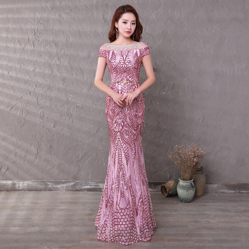 Diskon Gaun Perhiasan Yang Berkelip Kelip Emas Pesta Gaun Akar Teratai Warna Pati Oem