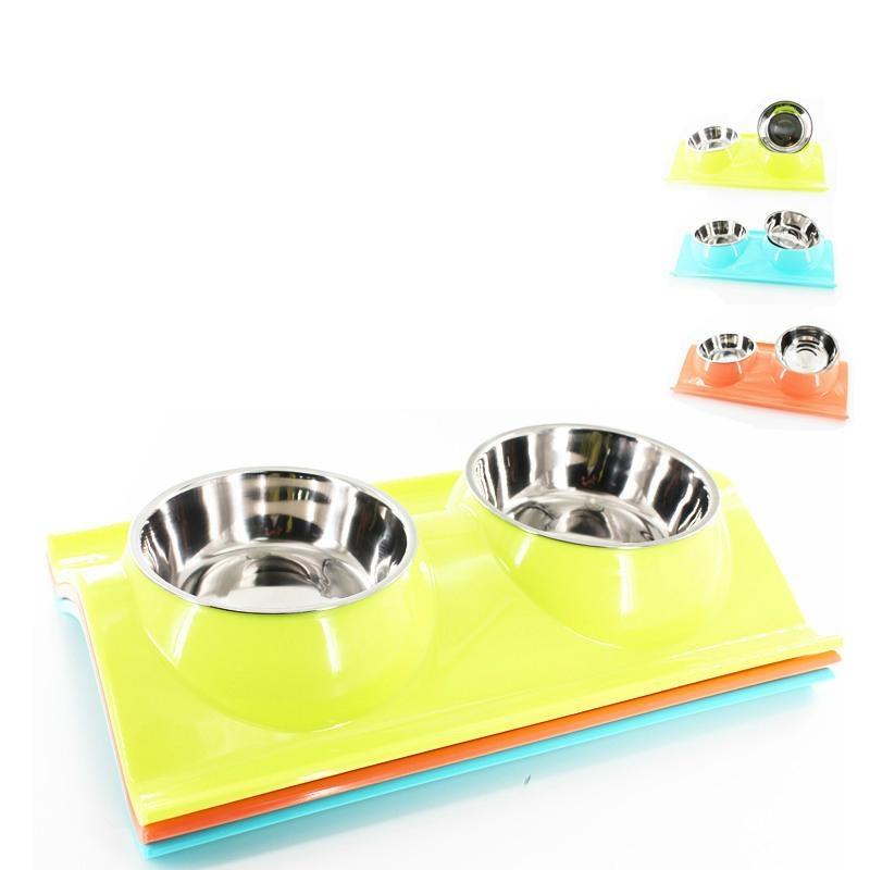 Pet Dog Bowl Makanan Water Dish Feeder Stainless Steel Double Mangkuk untuk Puppy Cat Warna: Hijau Ukuran: 38*25*5 Cmpinkgreenblue-Intl