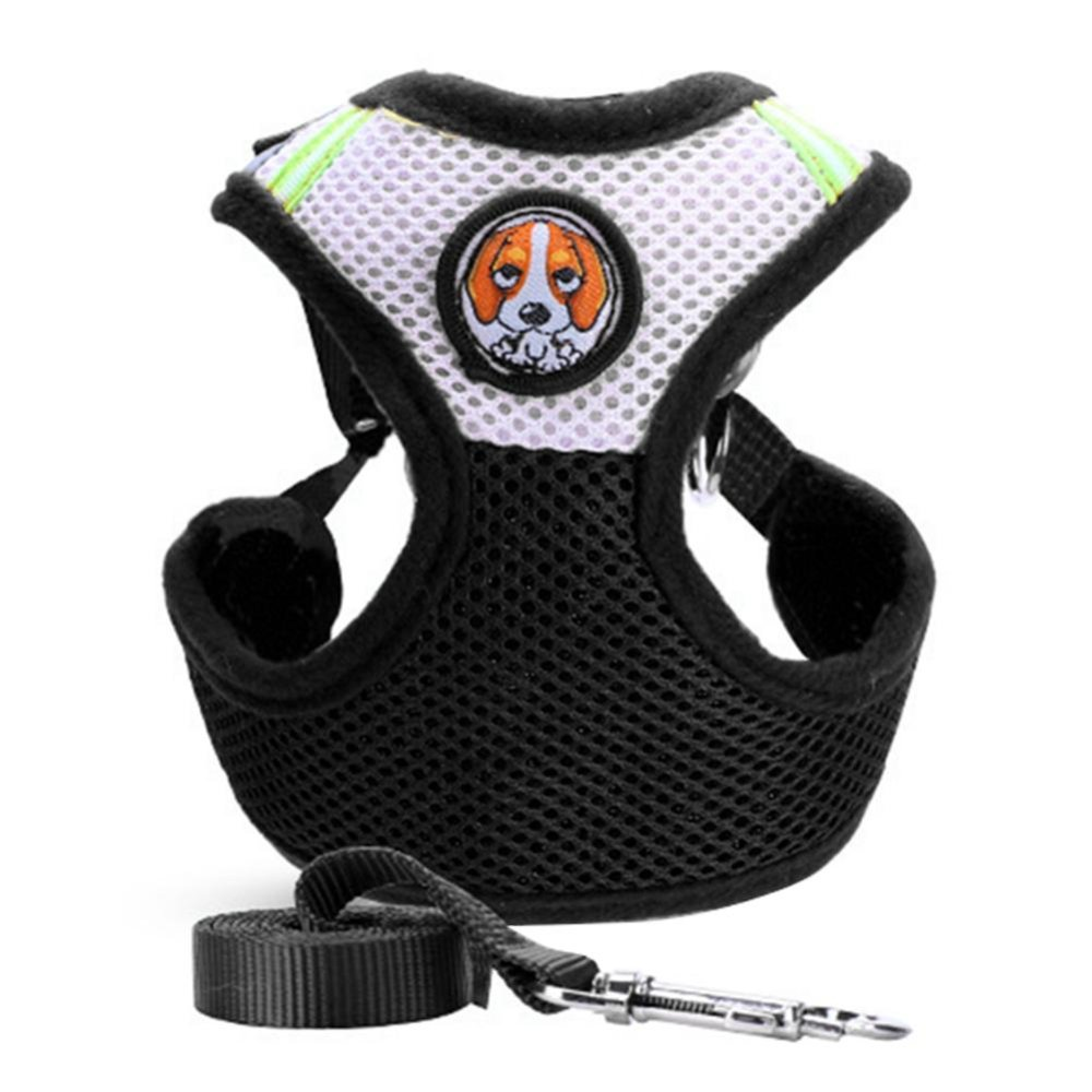 Iklan Pet Dog Collars Puppy Leash Vest Mesh Breathe Adjustable Harnes Black L Intl