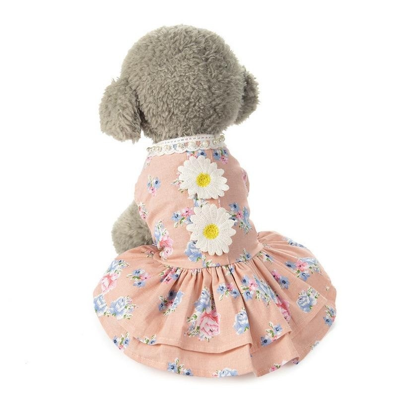 Pet Renda-pemangkasan Ruffle Motif Bunga Dress Kucing Putri Rok Puppy Sunflower