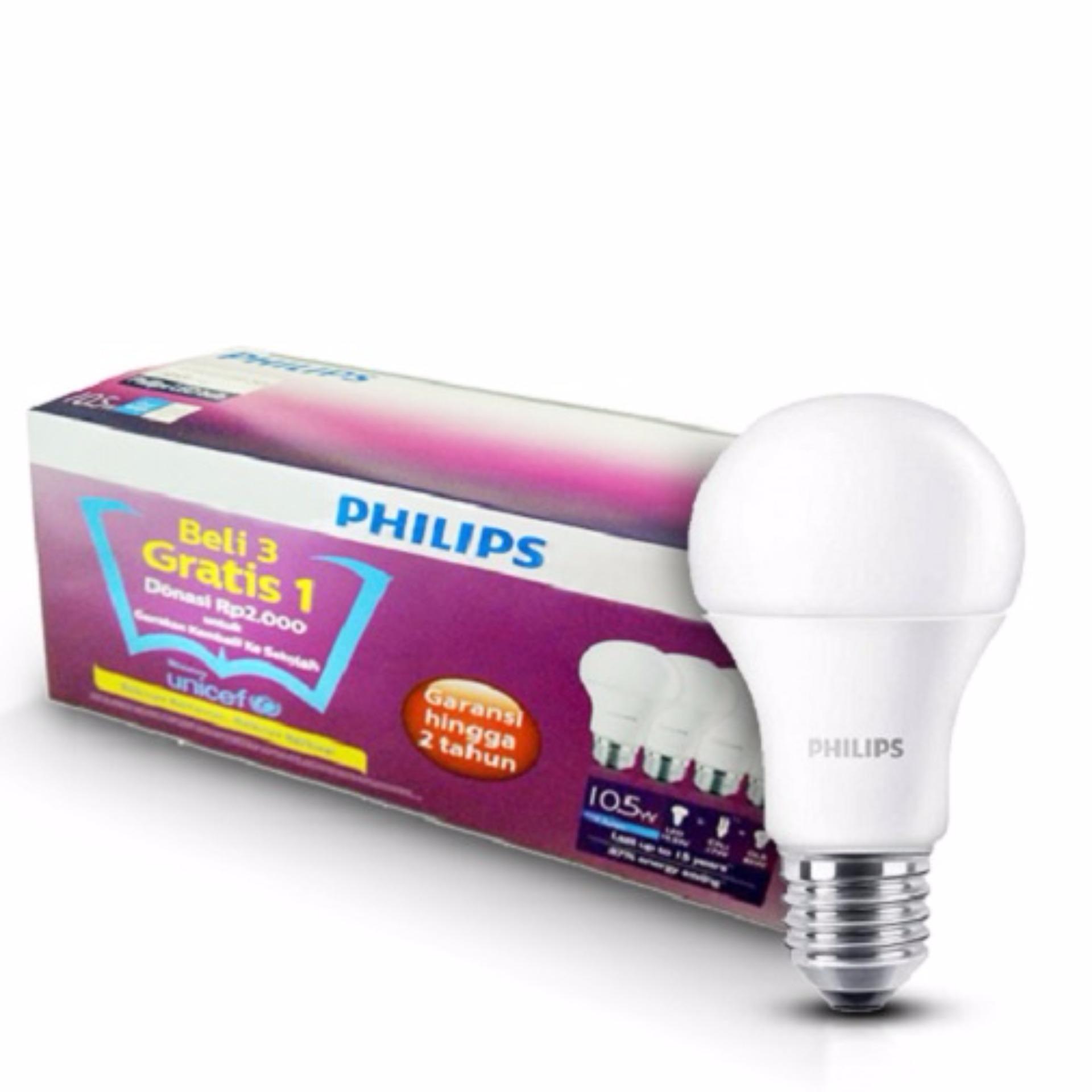 Philips Led Bulb 10 5W Unicef Beli 3 Gratis 1 Putih Promo Beli 1 Gratis 1
