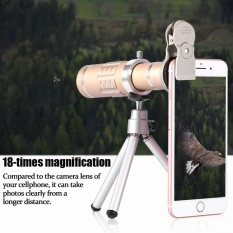 Phone Camera Lens Kit Universal 18X Optical Zoom Telephoto Telescope Lens with Tripod Gold - intl