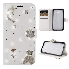 Phone Case For BlackBerry Motion 3D Bling Diamond Rhinestones PU Leather Wallet Case Flip Stand Card Slots Cover with Magnetic Closure (Moon) - intl
