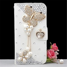 Phone Case For HTC U11 3D Bling Diamond Rhinestones PU Leather Wallet Case Flip Stand Card Slots Cover with Magnetic Closure (Butterfly) - intl