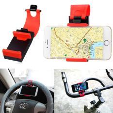 Phone Holder Mobil, Motor Dan Sepeda Untuk HP/GPS – Merah + Sticky Car Anti-Slip Mat for HP/ MP3/ Key/Aksesoris Mobil