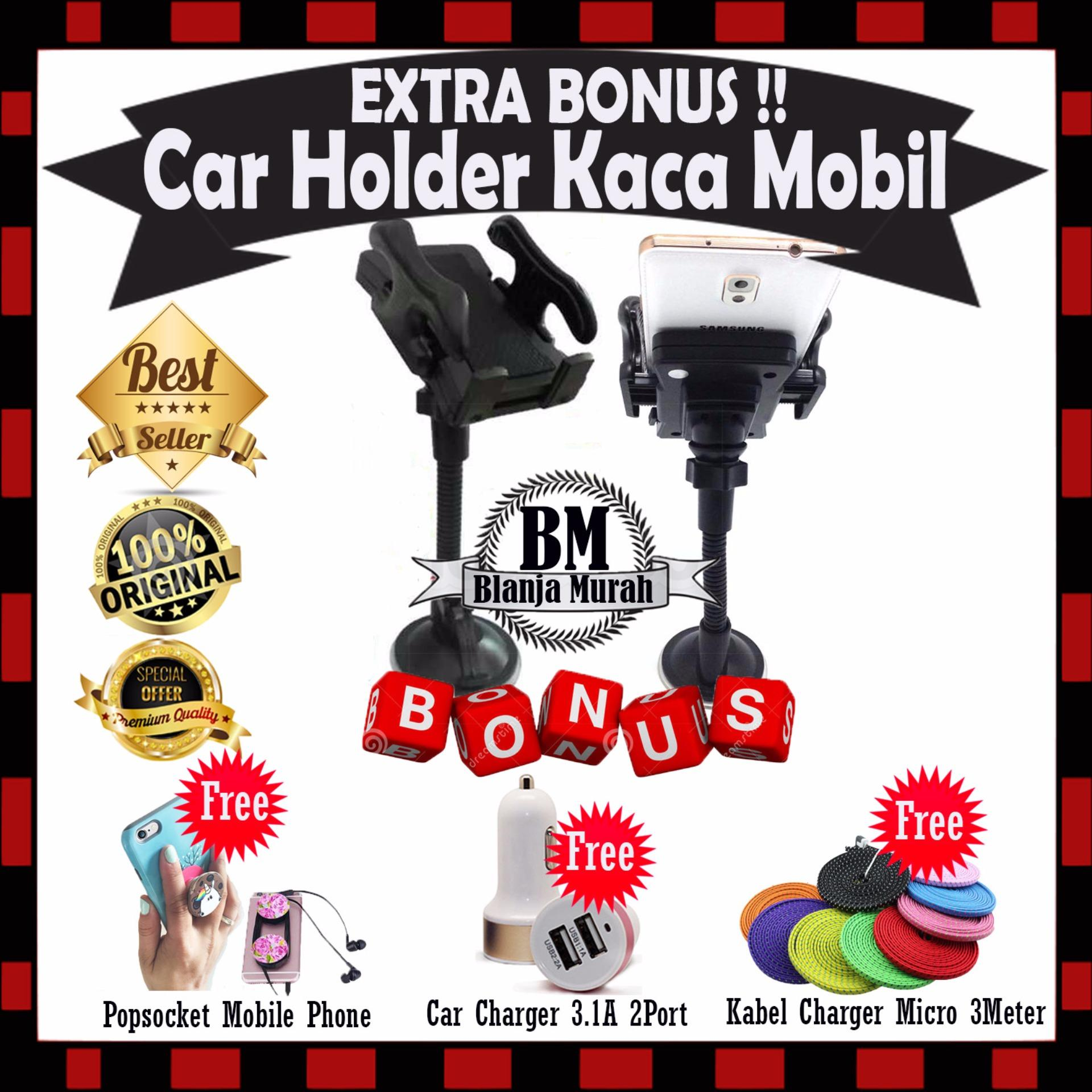 Tips Beli Phone Holder Mobil Universal Untuk Hp Gps Holder Kaca Mobil Flexible Gratis Popsocket Mobile Phone Car Charger 3 1A 2Port Kabel Charger Casan Micro Android 3 Meter