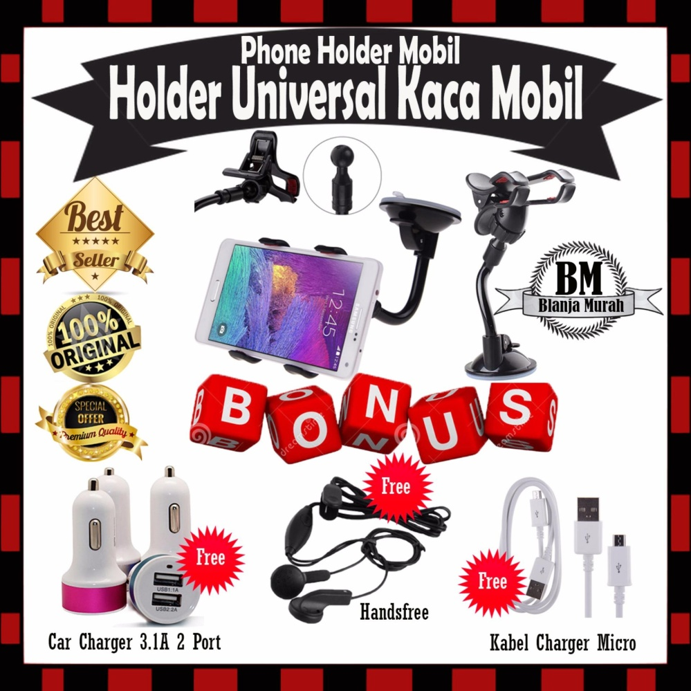 Toko Phone Holder Mobil Universal Untuk Hp Gps Holder Kaca Mobil Gratis Car Charger 3 1A 2Port Handsfree Kabel Charger Casan Micro Phone Holder Online